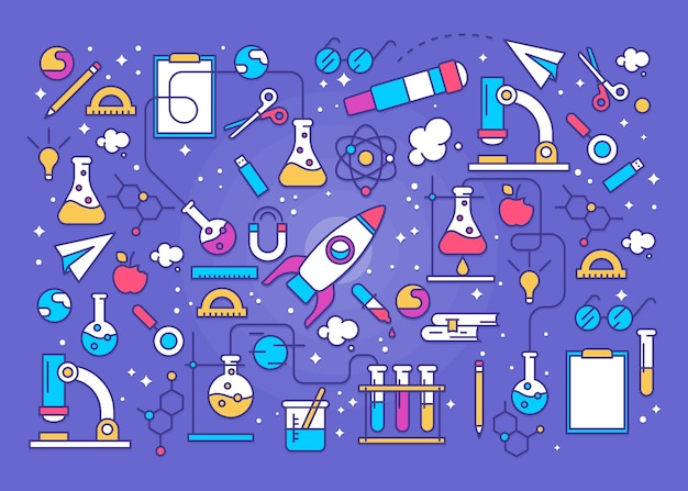 Colorful science education background with rocket
