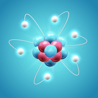 Красочная концепция научного дизайна с реалистичной светящейся моделью атома на синем изолированном