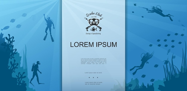 Colorful scuba diving template illustration