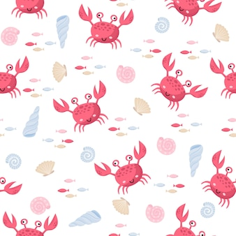 Colorful sea cartoon seamless vector pattern with crab, shells and fishes