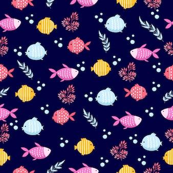Красочные морские рыбы мультфильм бесшовные векторные шаблон
