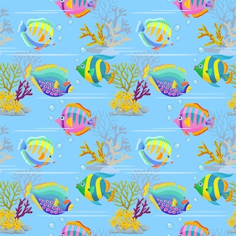 Colorful sea fish seamless pattern.