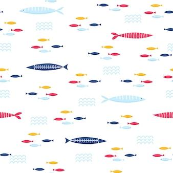 Красочные морские рыбы бесшовные векторные шаблон. яркие мультяшные иллюстрации для дизайна детских открыток, ткани и обоев.