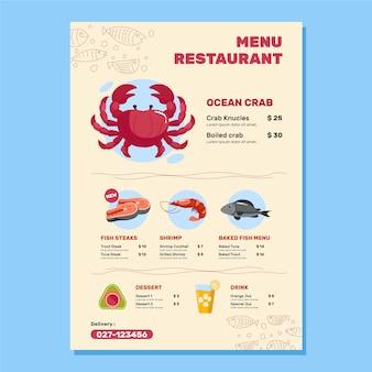 Colorful sea food menu design illustration
