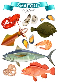 Colorful seafood collection for food market advertising products