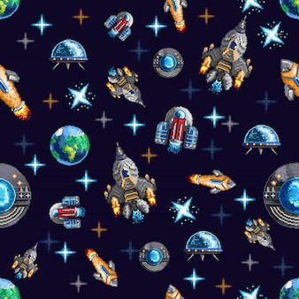 Colorful seamless background with pixel spacecrafts