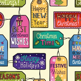 Colorful seamless christmas pattern with tags.