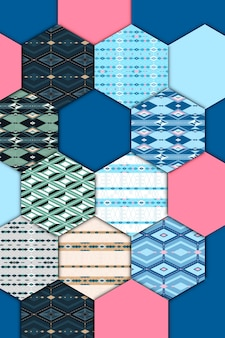 Colorful seamless geometric patterned patchwork set