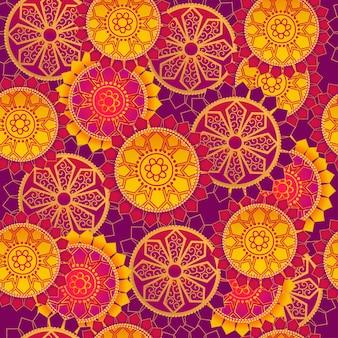 カラフルなシームレスな曼荼羅パターンの背景。
