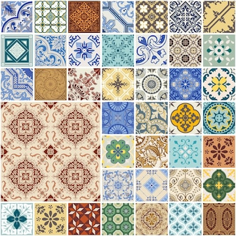 다채로운 원활한 패치 워크 패턴-스페인과 모로코 타일 세트-벽지, 디자인, 배경, 질감, interiours