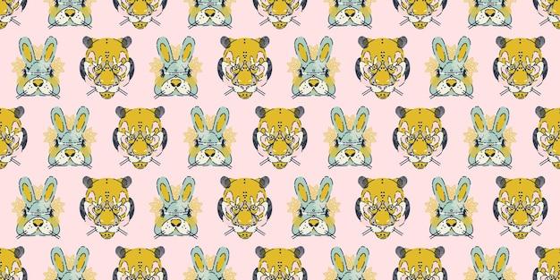 バニーウサギとトラとカラフルなシームレスパターンの背景ヘッダーコラージュ