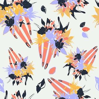 さまざまな花の手とテクスチャとカラフルなシームレスパターンの背景ヘッダーコラージュ