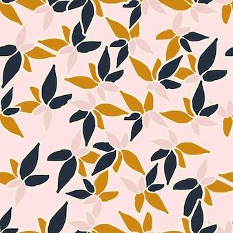 さまざまな花の葉とカラフルなシームレスパターンの背景ヘッダーコラージュ