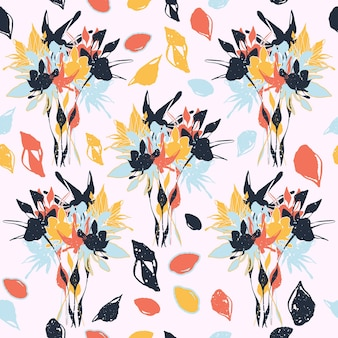 さまざまな花の形やテクスチャとカラフルなシームレスパターンの背景ヘッダーコラージュ