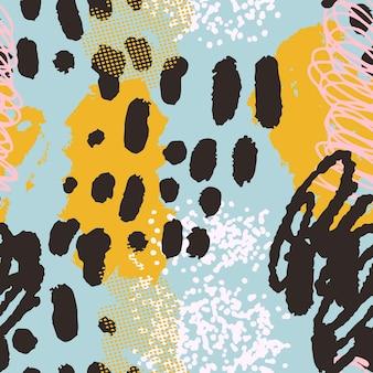さまざまな形やテクスチャのカラフルなシームレスパターンの背景ヘッダーコラージュ