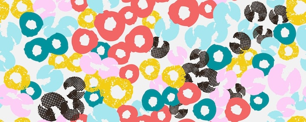 Colorful seamless pattern background header collage with different shapes and textures