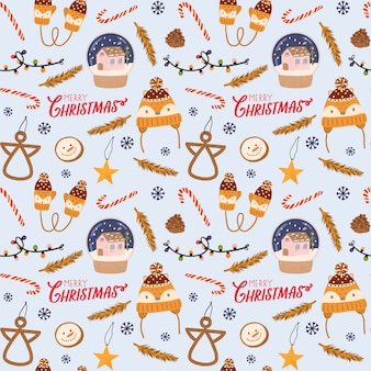 Colorful seamless pattern for christmas and new year with holiday lettering and traditional christmas elements. scandinavian style.