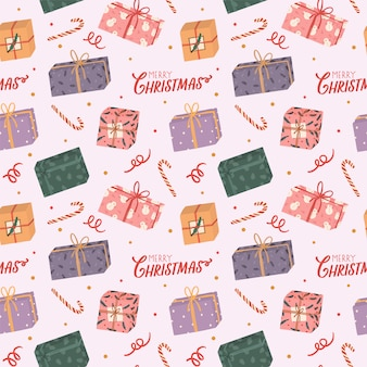 Colorful seamless pattern for christmas and new year with holiday lettering and traditional christmas elements.