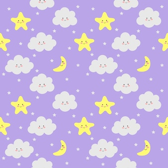 Colorful seamless pattern clouds, moon and stars on purple