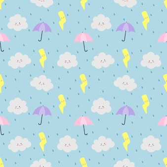 Colorful seamless pattern clouds, umbrella, rain and lightning on blue