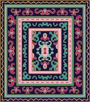 抽象的なカーペットのカラフルなシームレスパターン。
