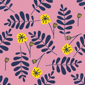 Colorful seamless pattern leaves in modern style on pink background.