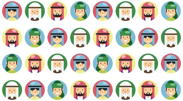 印刷可能な背景テンプレートのイスラム教徒の人々のカラフルなシームレスパターン。