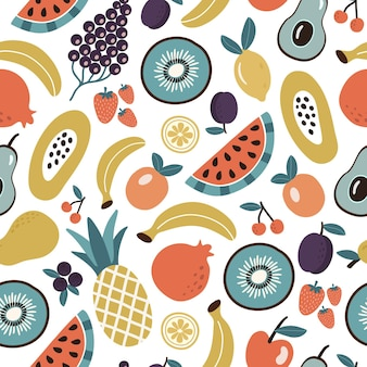 Colorful seamless pattern of organic tropical fruits and berries or vegetarian food