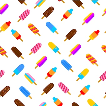 Colorful seamless pattern of popsicle ice cream