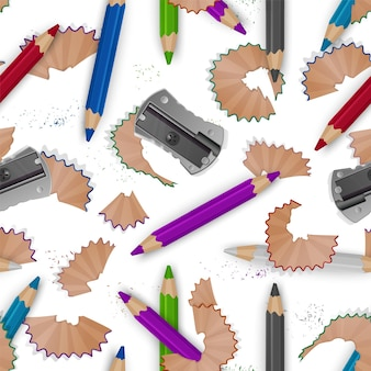 Colorful seamless pattern on a school theme with colored pencils, pencil shavings and realistic sharpener.