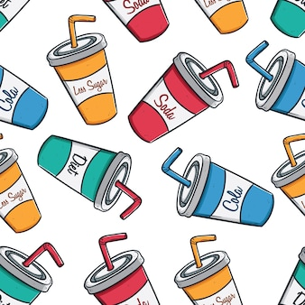 Colorful seamless pattern of soda cups with text