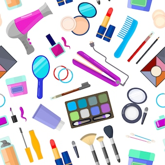 Colorful seamless pattern of tools for makeup and beauty on white