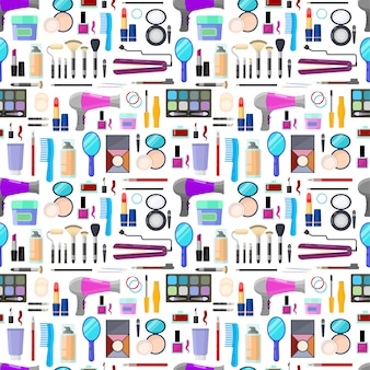 Colorful seamless pattern of tools for makeup and beauty