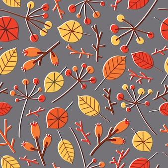 秋の紅葉、枝、小枝、小枝、灰色の果実とカラフルなシームレスパターン