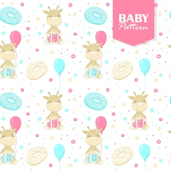 Colorful seamless pattern with baby giraffes, gifts, donuts, balloons