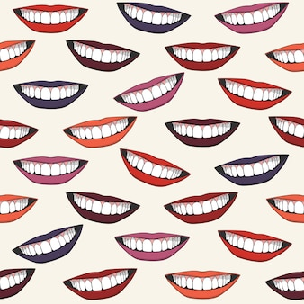 Colorful seamless pattern with beautiful female smiles