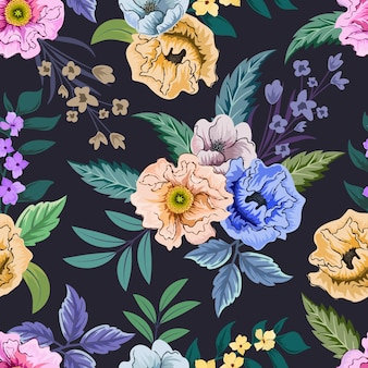 식물 꽃 디자인으로 다채로운 완벽 한 패턴입니다.