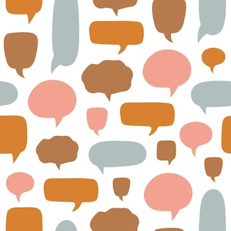 Colorful seamless pattern with cartoon colorful empty speech bubbles with dialog boxes