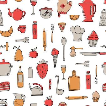 白の調理器具と食べ物とカラフルなシームレスパターン。