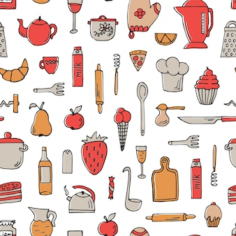Colorful seamless pattern with cooking tools and food on white.