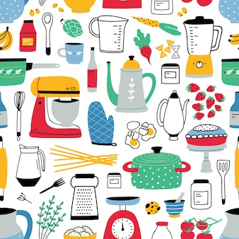 Colorful seamless pattern with cooking tools on white