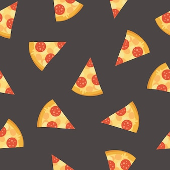 Colorful seamless pattern with delicious pepperoni pizza slices on dark background.