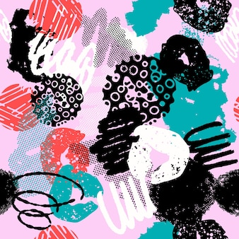 Colorful seamless pattern with different shapes and textures.