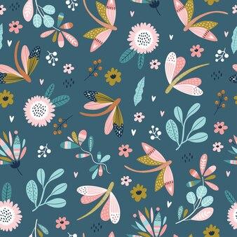 トンボと花とカラフルなシームレスパターン。