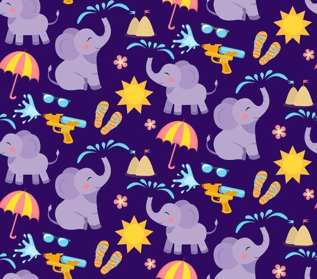 象と水とカラフルなシームレスパターン