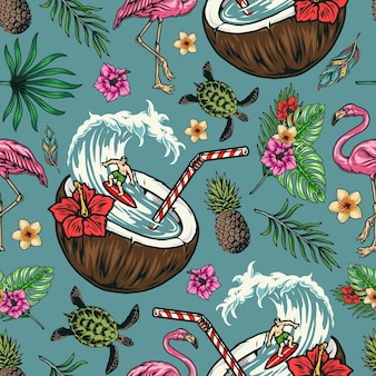 Colorful seamless pattern with exotic flowers, pineapple, flamingo, turtle, feathers and surfer in coconut with straw