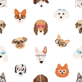 白い背景にメガネやサングラスをかけている犬の顔とカラフルなシームレスパターン。スマートな子犬の背景。テキスタイルプリント、包装紙のモダンな装飾的なベクトルイラスト。