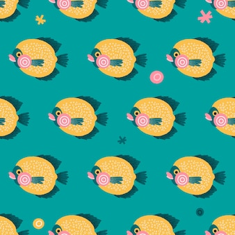 Colorful seamless pattern with fishes