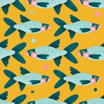 魚とカラフルなシームレスパターン