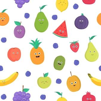 흰색 바탕에 행복한 웃는 얼굴을 한 재미있는 익은 신선한 열대 과일과 열매가 있는 다채로운 매끄러운 패턴입니다. 직물 인쇄, 포장지, 벽지에 대한 평면 만화 벡터 일러스트 레이 션.